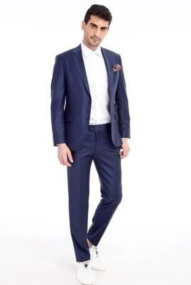 Erkek Giyim - Lacivert 52 Beden Slim Fit Kareli Takım Elbise