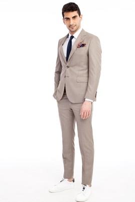 Erkek Giyim - Açık Kahve - Camel 44 Beden Slim Fit Desenli Takım Elbise