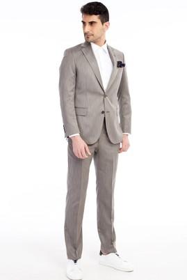 Erkek Giyim - Açık Kahve - Camel 48 Beden Kuşgözü Takım Elbise
