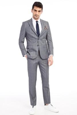 Erkek Giyim - Orta füme 48 Beden Kareli Takım Elbise