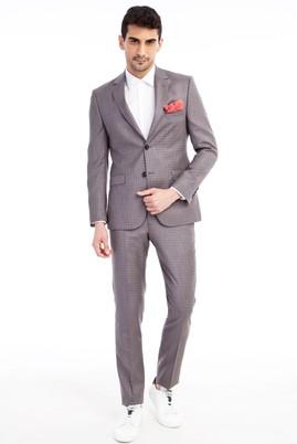 Erkek Giyim - VİZON 48 Beden Slim Fit Kareli Takım Elbise