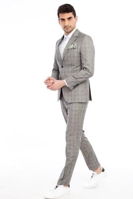 Erkek Giyim - Açık Gri 46 Beden Slim Fit Ekose Takım Elbise