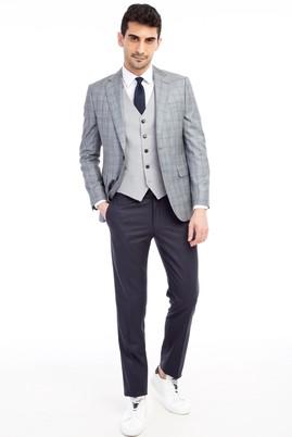 Erkek Giyim - Açık Gri 44 Beden Slim Fit Yelekli Kombinli Ekose Takım Elbise