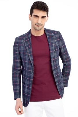 Erkek Giyim - Lacivert 52 Beden Ekose Ceket