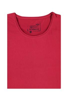 Erkek Giyim - Kırmızı 4X Beden King Size Bisiklet Yaka Tişört