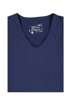 Erkek Giyim - Lacivert 4X Beden King Size V Yaka Tişört