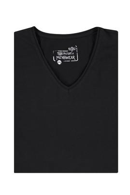 Erkek Giyim - Siyah 7X Beden King Size V Yaka Tişört