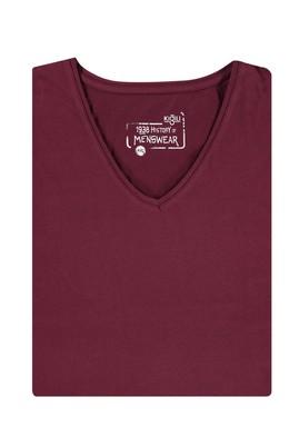 Erkek Giyim - Bordo 7X Beden King Size V Yaka Tişört