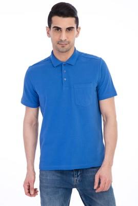 Erkek Giyim - Mavi L Beden Polo Yaka Düz Regular Fit Tişört