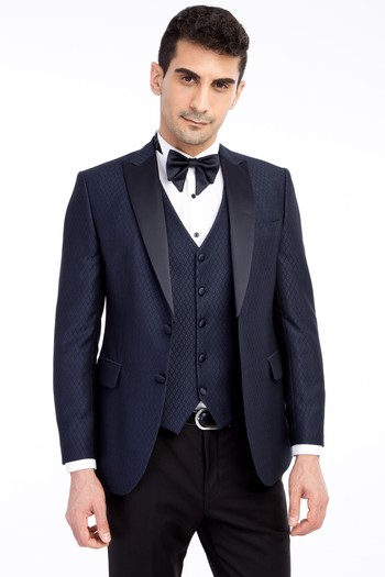 Şal Yaka Desenli Slim Fit Smokin / Damatlık