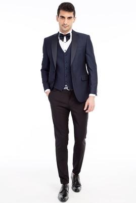 Erkek Giyim - Lacivert 44 Beden Şal Yaka Desenli Slim Fit Smokin / Damatlık