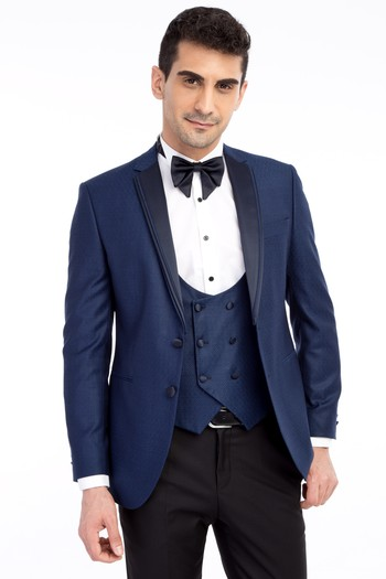 Mono Yaka Desenli Slim Fit Smokin / Damatlık