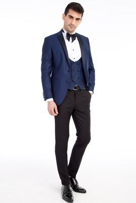 Erkek Giyim - Mavi 48 Beden Mono Yaka Desenli Slim Fit Smokin / Damatlık