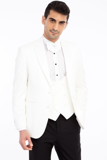 Erkek Giyim - Mono Yaka Desenli Slim Fit Smokin / Damatlık