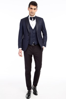 Erkek Giyim - Lacivert 44 Beden Mono Yaka Desenli Slim Fit Smokin / Damatlık