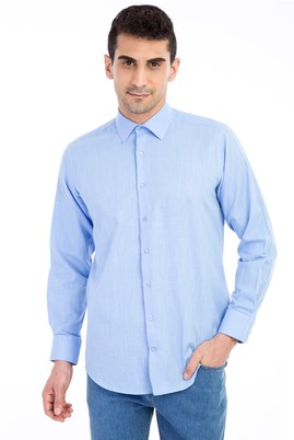 Erkek Giyim - Mavi XL Beden Uzun Kol Keten Relax Fit Gömlek