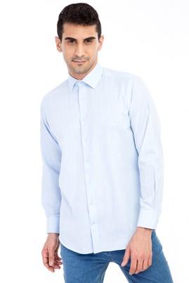 Erkek Giyim - Açık Mavi S Beden Uzun Kol Keten Relax Fit Gömlek