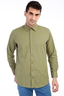 Erkek Giyim - HAKİ M Beden Uzun Kol Keten Relax Fit Gömlek