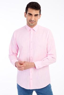 Erkek Giyim - Pembe XL Beden Uzun Kol Keten Relax Fit Gömlek