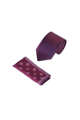 Erkek Giyim - Bordo  Beden 2'li Kravat Mendil Set