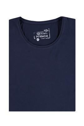 Erkek Giyim - Lacivert 5X Beden King Size Bisiklet Yaka Tişört