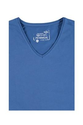 Erkek Giyim - Mavi 5X Beden King Size V Yaka Tişört
