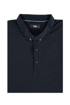 Erkek Giyim - Acık Yesıl 4X Beden King Size Polo Yaka Desenli Tişört