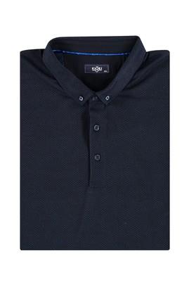 Erkek Giyim - KOYU MAVİ 4X Beden King Size Polo Yaka Desenli Tişört