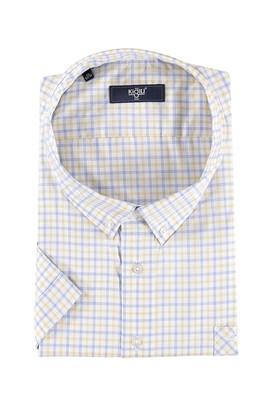 Erkek Giyim - Sarı 5X Beden King Size Kısa Kol Ekose Gömlek