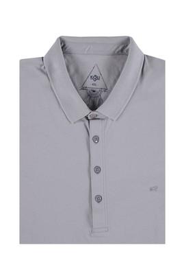 Erkek Giyim - Açık Gri 4X Beden King Size Polo Yaka Süprem Tişört