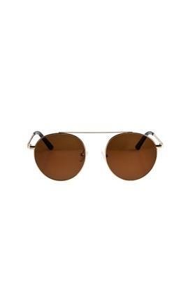 Erkek Giyim - Sarı STD Beden UV Korumalı Metal Çerçeveli Güneş Gözlüğü
