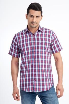 Erkek Giyim - Kırmızı L Beden Kısa Kol Ekose Klasik Gömlek