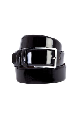 Erkek Giyim - Siyah 105 Beden Klasik Rugan Kemer