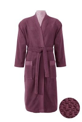 Erkek Giyim - Mor SM Beden Kimono Yaka Mürdüm Jakarlı Bornoz