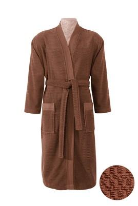 Erkek Giyim - Sarı LX Beden Kimono Yaka Tarçın Jakarlı Bornoz