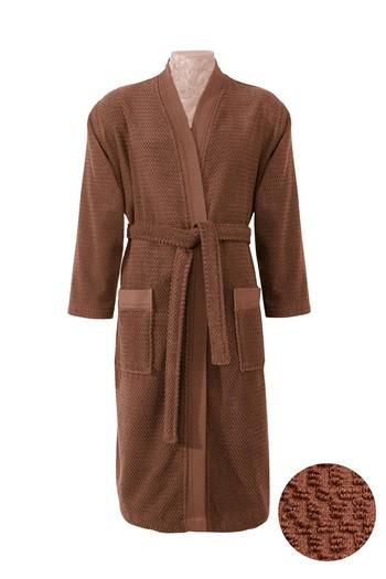 Erkek Giyim - Kimono Yaka Tarçın Jakarlı Bornoz