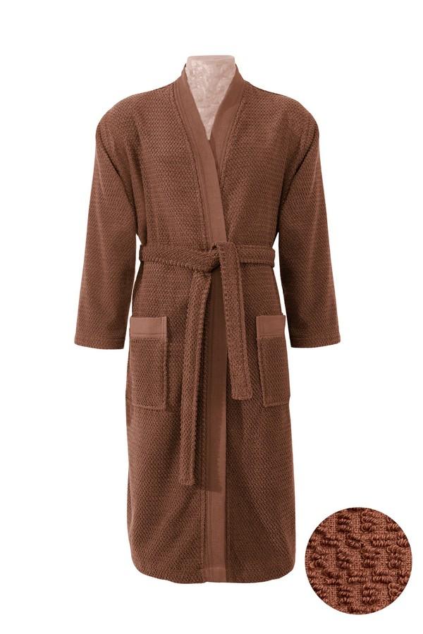 Kimono Yaka Tarçın Jakarlı Bornoz