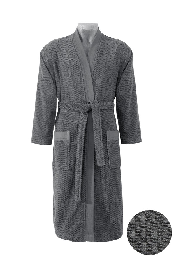 Kimono Yaka Antrasit Jakarlı Bornoz
