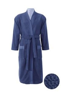 Erkek Giyim - Kimono Yaka Lacivert Jakarlı Bornoz