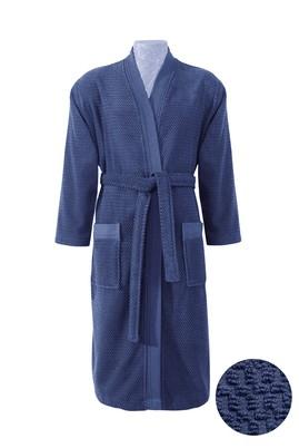 Erkek Giyim - Lacivert SM Beden Kimono Yaka Lacivert Jakarlı Bornoz