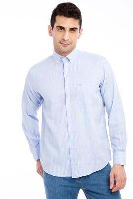 Erkek Giyim - Mavi L Beden Uzun Kol Çizgili Klasik Gömlek