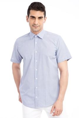 Erkek Giyim - Mavi L Beden Kısa Kol Çizgili Gömlek