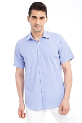 Erkek Giyim - Mavi L Beden Kısa Kol Ekose Gömlek