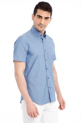 Erkek Giyim - Mavi M Beden Kısa Kol Desenli Slim Fit Gömlek