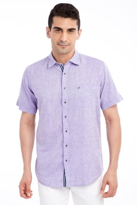 Erkek Giyim - LİLA 4X Beden Kısa Kol Keten Gömlek