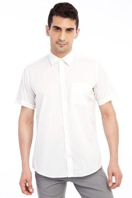 Erkek Giyim - Krem XXL Beden Kısa Kol Klasik Gömlek