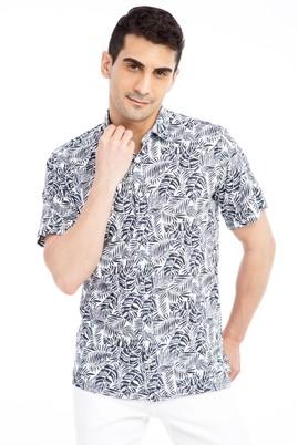 Erkek Giyim - Lacivert L Beden Kısa Kol Desenli Gömlek
