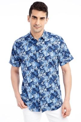Erkek Giyim - Mavi M Beden Kısa Kol Desenli Gömlek