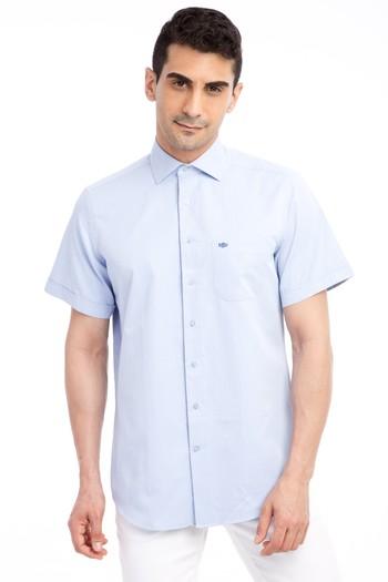 Erkek Giyim - Kısa Kol Desenli Klasik Gömlek