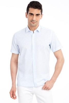 Erkek Giyim - Açık Mavi M Beden Kısa Kol Desenli Slim Fit Gömlek